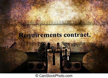 behov, kontrakt, på, vinhøst, skrivemaskine