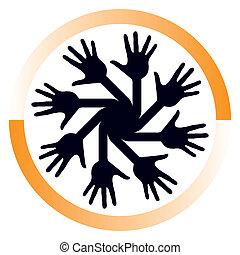 behulpzaam, handen, cirkel, vector.