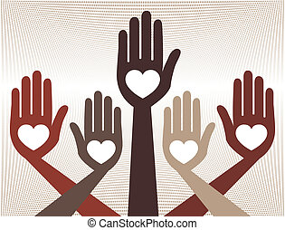 behulpzaam, verenigd, handen, design.