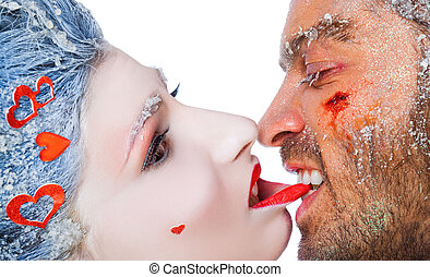 beißen, frau, lippe, mann, make-up