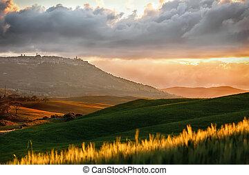 bei, tuscany, panorâmico, pôr do sol, típico, paisagem, vista