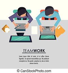 beide, vrouw, kleurrijke, poster, bovenzijde, computers, teamwork, achtergrond, tussen, aanzicht, man