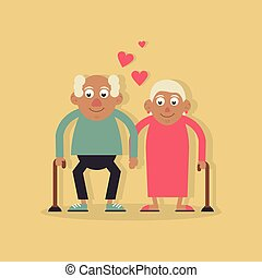 beide, wandelende, liefde, achtergrondkleur, licht, paar, gele, stok, holdingshanden, grootouders