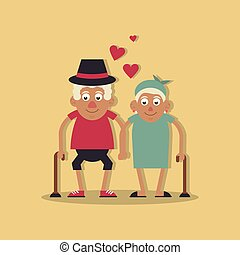 beide, wandelende, liefde, achtergrondkleur, licht, paar, gele, stok, holdingshanden, grootouders, hoedje, hem