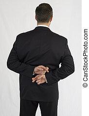 beidhändig, kreuz, zurück, hinten, schwarz, finger, klage, geschäftsmann