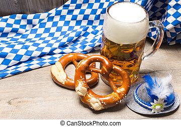 beiers, bier, pretzels, mok