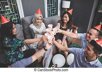 beifall, party, genießen, friends