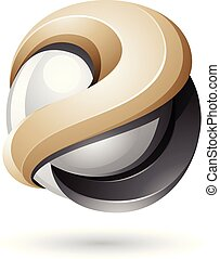 Beige and Black Bold Metallic Glossy 3d Sphere Vector Illustration