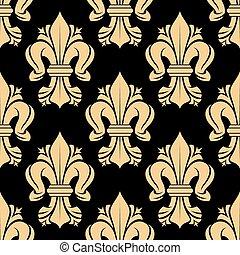 Beige and black fleur-de-lis floral seamless pattern