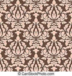 Beige and brown seamless floral pattern