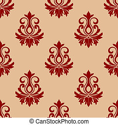 Beige and maroon floral seamless pattern