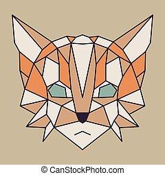 Beige and orange low poly cat