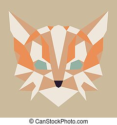 Beige and orange low poly cat