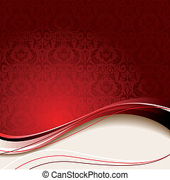 Beige and red background - Red background with flowers and...