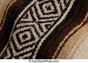 beige, arriba, marrón, cierre, manta, detalles, mexicano