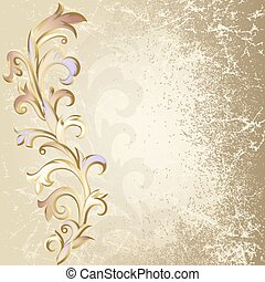 Beige background - Beige grunge background with a plant of...