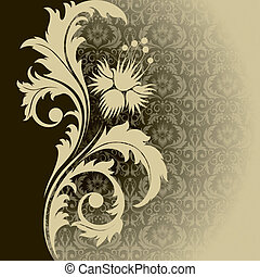Beige background - Beige retro background with flowers and...