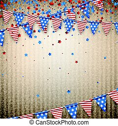 Beige background with American flags. - Beige Independence...