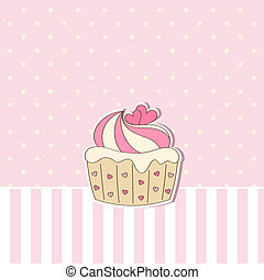 Beige background with cupcake.