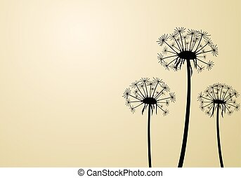 Beige background with dandelions.