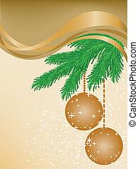 Beige background with spruce branch