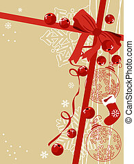 Beige background with traditional Christmas symbols