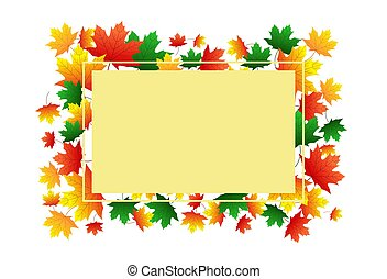 Beige banner on the background of autumn maple leaves