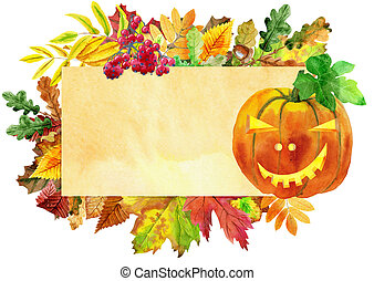 Beige banner with colorful falling autumn leaves and pumpkin