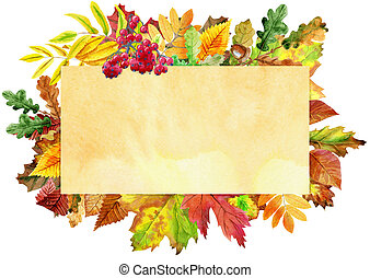 Beige banner with colorful falling autumn leaves