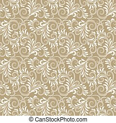 Beige baroque floral pattern - Beige antique baroque vintage...