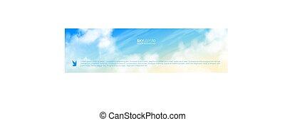 beige-blue, céu, realístico, vetorial, horizontais,...