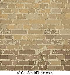 Beige brick wall texture. Vector, EPS10