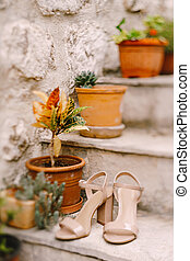 Beige bride's sandals on the steps with flowers in flower pots against a stone wall.