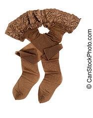 beige, calze, con, laccio, elastico