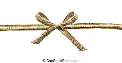 Beige canvas ribbon with rope and bow isolated on white