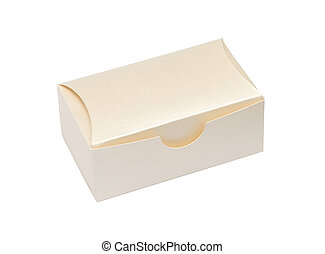beige cardboard box on a white background