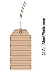 Beige Carton (Cardboard) Label Seam Tag isolated on White, stock vector illustration