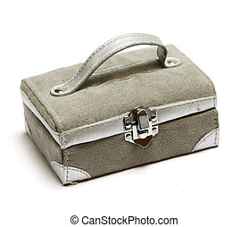 Beige casket with handle - Beige casket with leather handle