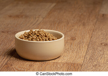 Beige cat and dog food bowl on the floor