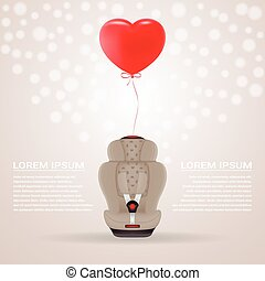 Beige Child Car Seat With Red Baloon In Shape Of Heart Isolated On A Background. Vector Illustration.