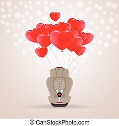 Beige Child Car Seat With Red Baloons In Shape Of Heart Isolated On A Background. Vector Illustration.