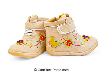 Beige Children's boots - Beige baby shoes for girls with...