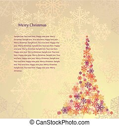 Beige Christmas Background with tree. Vector