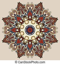 beige colour mandala, circle decorative spiritual indian symbol
