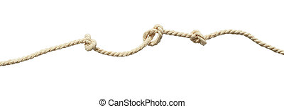 Beige cotton rope with knots