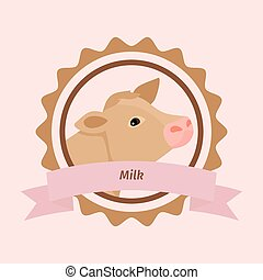 Beige cow head milk label