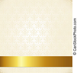 Beige Damask Background With Gold Ribbon, Vector...