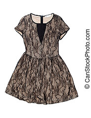 beige dress with lace - Beige dress with lace. Isolate on...