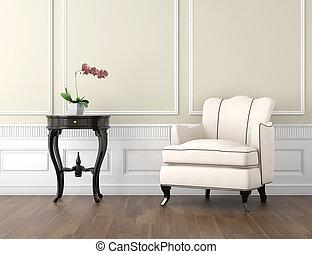 beige, e, bianco, classico, interno