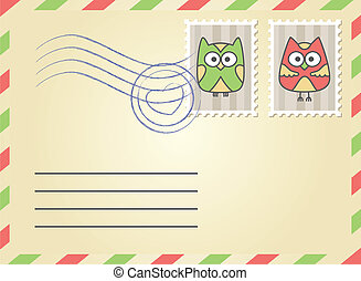 envelope with postage stamps - beige envelope with postage...